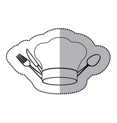 figure hat with cutlery icon vector image vector image