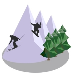 Mountain jumping skiing and snowboard vector image