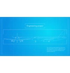 Plane engineering aircraft blueprint background vector
