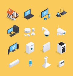 smart home isometric icons set vector image vector image