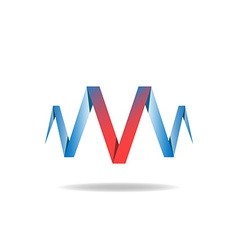 V - red letter of the blue ribbon logo idea vector image