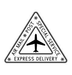 air mail triangle stamp black postmark vector image