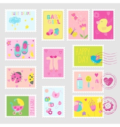 Baby Girl Stamps Design Elements vector image vector image