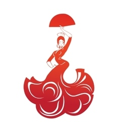 Flamenco woman in expressive pose flat silhouette vector