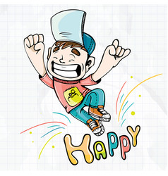happy happy boy cartoon vector image vector image