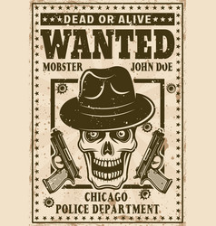 mafia poster in vintage style with mobster skull vector image