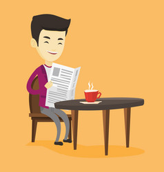 man reading newspaper and drinking coffee vector image vector image