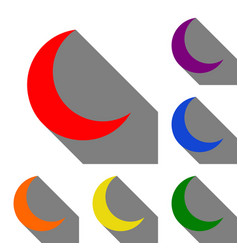moon sign set of red orange yellow vector image