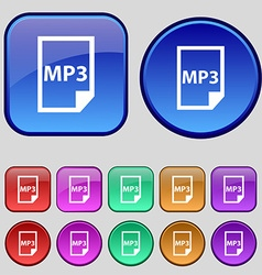 mp3 icon sign A set of twelve vintage buttons for vector image