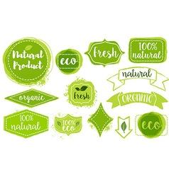set of organic fresh eco labels vector image