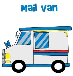 Transportation of mail van collection vector image