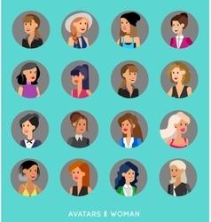 Cute cartoon human avatars set vector image