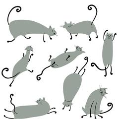 Cute doodle cats set vector image vector image