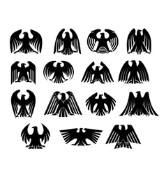 Eagle heraldry silhouettes set vector image