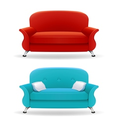 Interior design with realistic sofa vector image