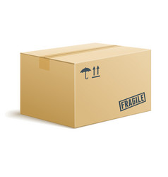 isolated cardboard box on transparent background vector image vector image