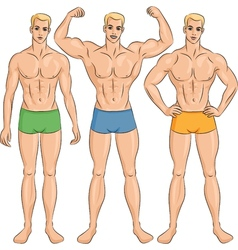set of young athletic guys in shorts vector image