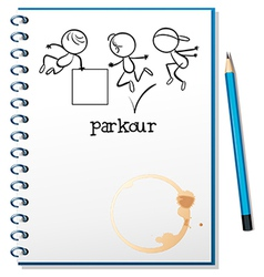 A notebook with a sketch of a parkour training at vector