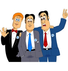 three friends at a wedding vector image