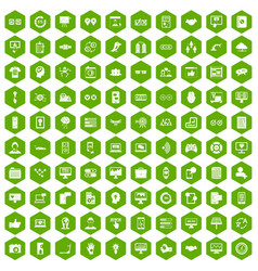 100 interface icons hexagon green vector