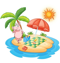 A beach with a pig enjoying summer vector image vector image