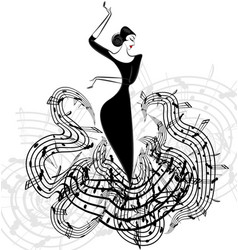 Abstract lady music vector