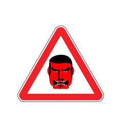 angry boss warning sign red evil head hazard vector image