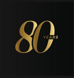 Anniversary company logo 80 years eighty gold vector