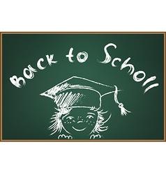 Back to school on green schooboard vector image