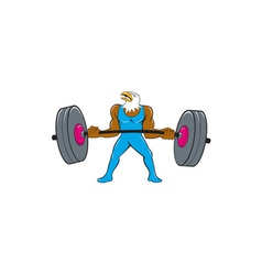 Bald Eagle Weightlifter Lifting Barbell Cartoon vector image