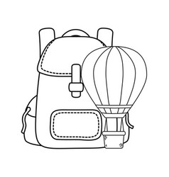 Balloon air hot flying with travel bag vector