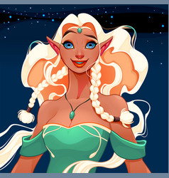 Beautiful queen of elves vector