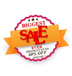 Biggest Sale design with percent discount vector image