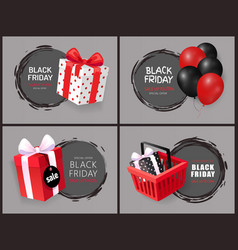 black friday discount and sales isolated banners vector image