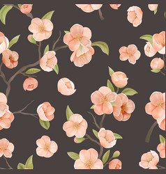 blooming sakura decor for fabric art cherry vector image