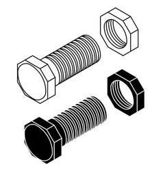 bolt with nut outline drawing vector image