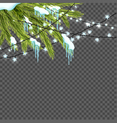 border with realistic firtree sparkling lights vector image