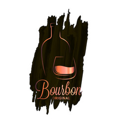 Bourbon or whiskey watercolor logo brandy bottle vector