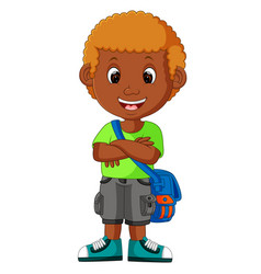 Boy with backpacks cartoon vector