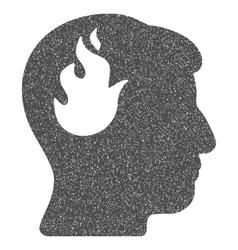 Brain Fire Grainy Texture Icon vector