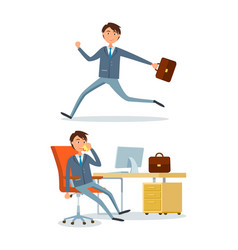 businessman running to work person in office vector image