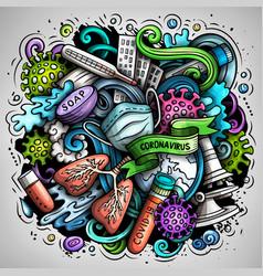 Cartoon doodles coronavirus vector