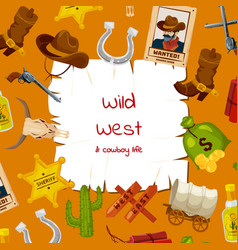 cartoon wild west elements background vector image