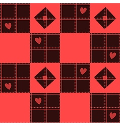 Chessboard Red Heart Valentine Background vector