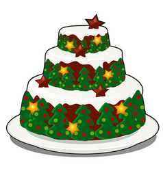 Christmas layered biscuit cake covered vector