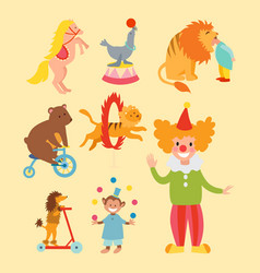 circus funny animals set icons cheerful vector image