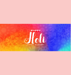 Colorful happy holi festival wishes banner design vector