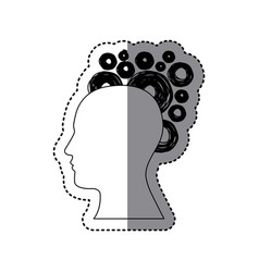 contour human with bubbles icon vector image