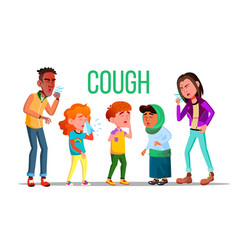 cough people coughing concept sick child vector image