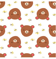 cute bear with bees seamless pattern on white vector image